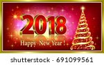 2018 christmas card with a... | Shutterstock .eps vector #691099561