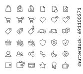 e-commerce online shopping symbols line black icons set
