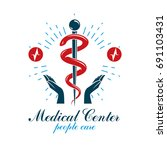 pharmacy caduceus vector icon ... | Shutterstock .eps vector #691103431