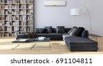 modern bright living room ... | Shutterstock . vector #691104811