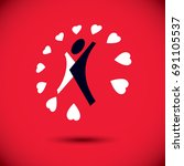 healthy lifestyle conceptual... | Shutterstock .eps vector #691105537