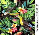 sky bird toucan pattern in a... | Shutterstock . vector #691107175