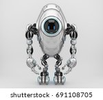 sci fi long robotic beetle with ... | Shutterstock . vector #691108705
