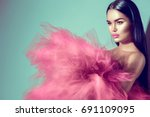 beautiful high fashion woman in ... | Shutterstock . vector #691109095
