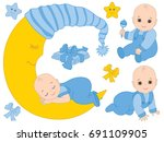 vector set with cute baby boys  ... | Shutterstock .eps vector #691109905
