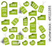 set of green price tags and... | Shutterstock .eps vector #69111355