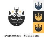 vintage juice logo design...   Shutterstock .eps vector #691116181