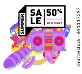 summer sale colorful style... | Shutterstock .eps vector #691117297