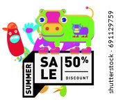 summer sale colorful style... | Shutterstock .eps vector #691129759