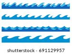 stylized cartoon ocean waves ... | Shutterstock .eps vector #691129957