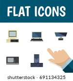 flat icon computer set of...