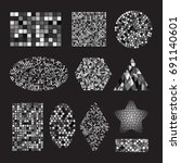 set of black and white mosaic... | Shutterstock .eps vector #691140601