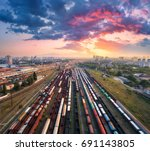 cargo trains. aerial view of... | Shutterstock . vector #691143805