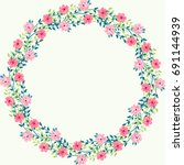 floral round frame from cute...   Shutterstock .eps vector #691144939