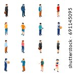 cool isometric people of... | Shutterstock .eps vector #691145095