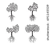 set black trees with leaves and ... | Shutterstock .eps vector #691145539