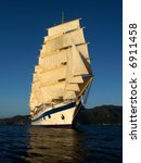 Tall Ship Under Full Sails In...