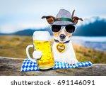 bavarian jack russell dog... | Shutterstock . vector #691146091