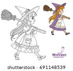 cute girl in witch suit goes... | Shutterstock .eps vector #691148539