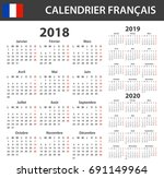 french calendar for 2018  2019... | Shutterstock .eps vector #691149964