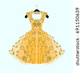gorgeous golden dress. party... | Shutterstock .eps vector #691150639