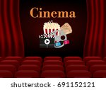 movie theater with row of red... | Shutterstock .eps vector #691152121
