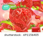 strawberry juice. sweet fruits... | Shutterstock .eps vector #691156405