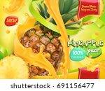pineapple juice. sweet tropical ... | Shutterstock .eps vector #691156477