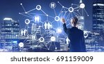 back view of businesswoman... | Shutterstock . vector #691159009
