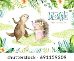 hand drawn watercolor beaver... | Shutterstock . vector #691159309