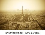 Parisian skyline with Eiffel Tower (Tour Eiffel) - Sepia toned image - stock photo