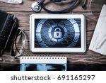 doctors workplace with white...   Shutterstock . vector #691165297