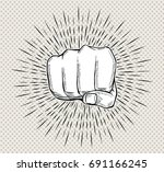 hand punch with sunbursts in... | Shutterstock .eps vector #691166245