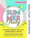 summer party invitation. flyer...   Shutterstock .eps vector #691174051