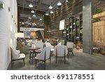 3d rendering loft and luxury... | Shutterstock . vector #691178551