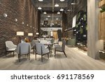 3d rendering loft and luxury... | Shutterstock . vector #691178569