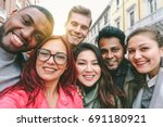 happy friends from diverse... | Shutterstock . vector #691180921