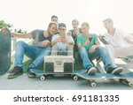 young friends having fun at... | Shutterstock . vector #691181335