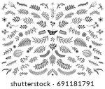 hand sketched floral design... | Shutterstock .eps vector #691181791