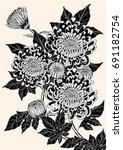 chrysanthemum vector on brown... | Shutterstock .eps vector #691182754