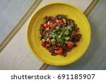 beautiful and tasty food on a... | Shutterstock . vector #691185907