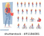 vector set of students young... | Shutterstock .eps vector #691186081