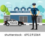 policeman with police car in... | Shutterstock .eps vector #691191064