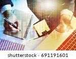 stock market financial on led. ... | Shutterstock . vector #691191601