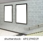 two blank vertical billboard... | Shutterstock . vector #691194019