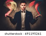 young illusionist performing... | Shutterstock . vector #691195261