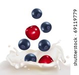 blueberries and cherries... | Shutterstock .eps vector #69119779