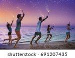 happy smiling friends running... | Shutterstock . vector #691207435