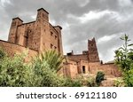 Hdr image of the Moroccan kasbah of Ait ben Haddou near quarzazate - stock photo