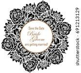 vintage delicate invitation... | Shutterstock . vector #691213129